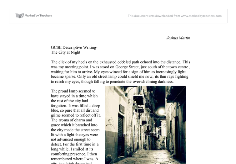Describe a city at night essay