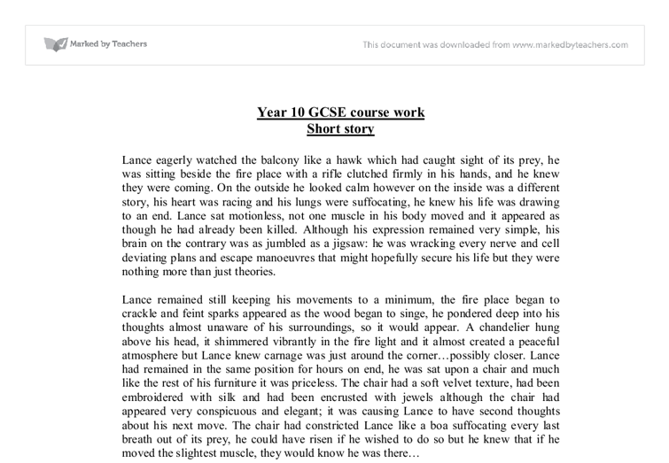 short stories gcse english coursework Tough gcse topics broken down and explained by out team of expert teachers examples of gcse short stories english short story coursework.