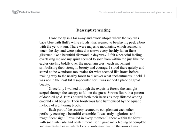 descriptive essay sample about a place