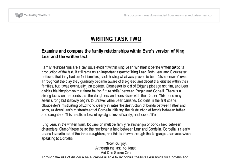 essay on king lear character We will write a custom essay sample on king lear essay examples specifically for you order now character is destiny  the first act is the exposition, in which the playwright sets forth the problem and introduces the main characters in king lear, act i establishes the nature of the conflict between cordelia and edmund a comparison between king lear and oedipus.