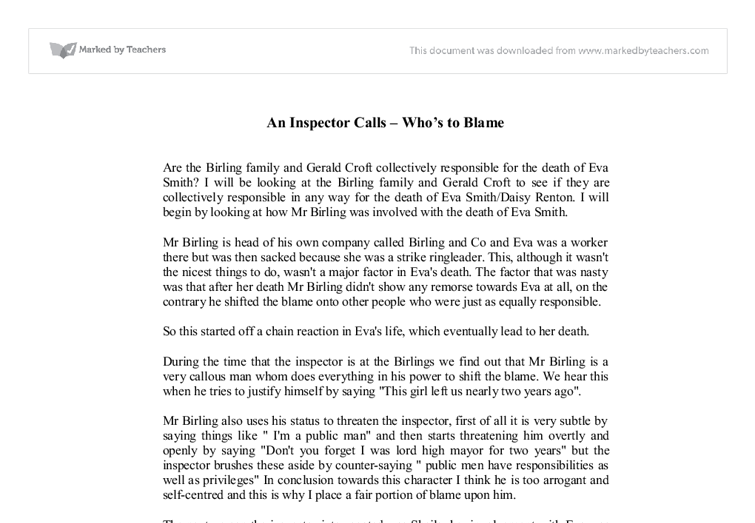 an inspector calls notes for essays An inspector calls notes written in 1945 set in 1912 an inspector calls is one of jb all an inspector calls character notes essays and term papers.