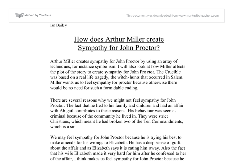The crucible essay on john proctor