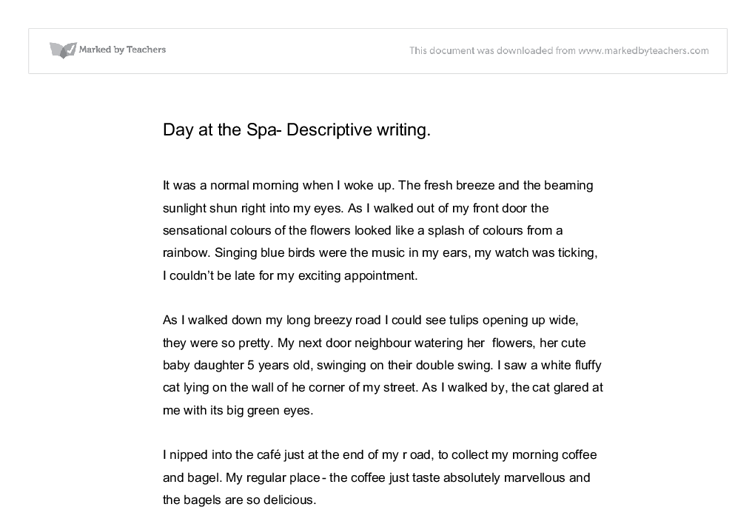 descriptive writing day at the spa gcse english marked by  document image preview