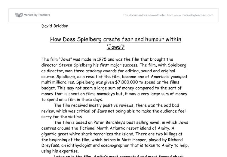 english media coursework jaws