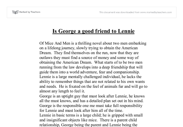 is george a good friend to lennie in of mice and men gcse  document image preview