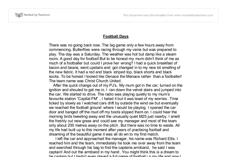 autobiography football days gcse english marked by teachers com document image preview