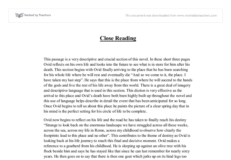 Imaginary LifeClose Reading GCSE English Marked by Teacherscom