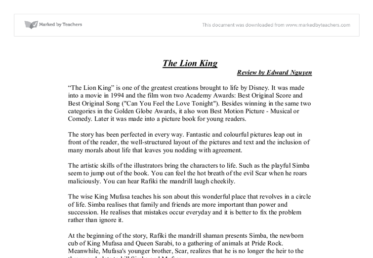 book review of lion king gcse english marked by teachers com document image preview