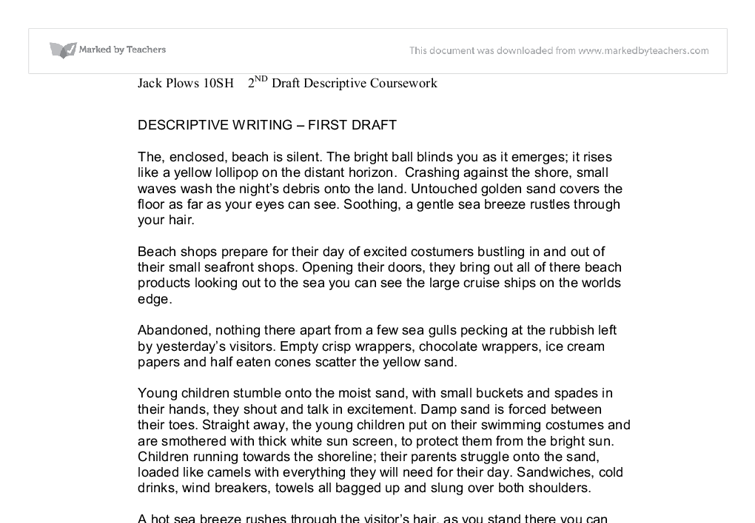 descriptive writing of a beach gcse english marked by teachers com document image preview