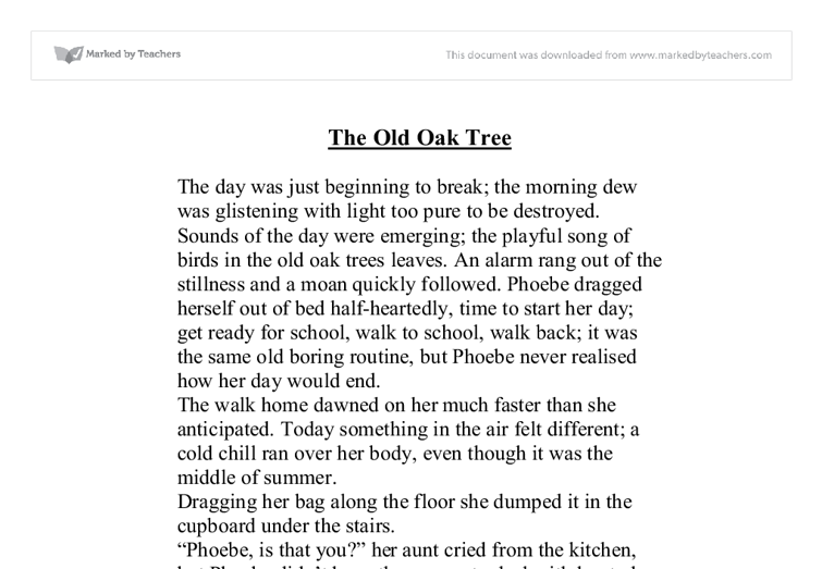 the old oak tree - gcse english
