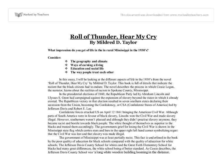 roll of thunder hear my cry racism essay
