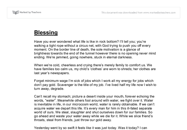 blessing english gcse coursework creative writing short