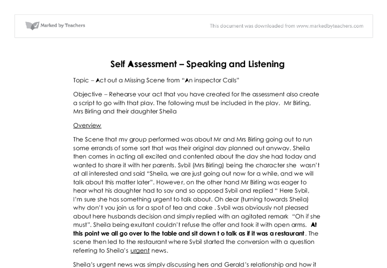 Student Self-Assessment Examples