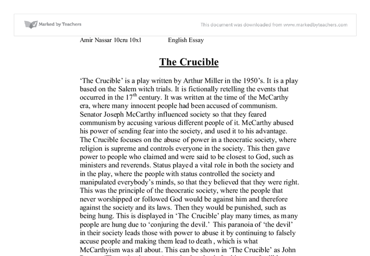 gcse english coursework the crucible essay Gcse english twentieth century drama coursework assignment directors  notes on act 4 of the crucible by  arthur miller wrote the play the crucible,  using the 17th-century case of witch trials (and  related gcse arthur miller  essays.