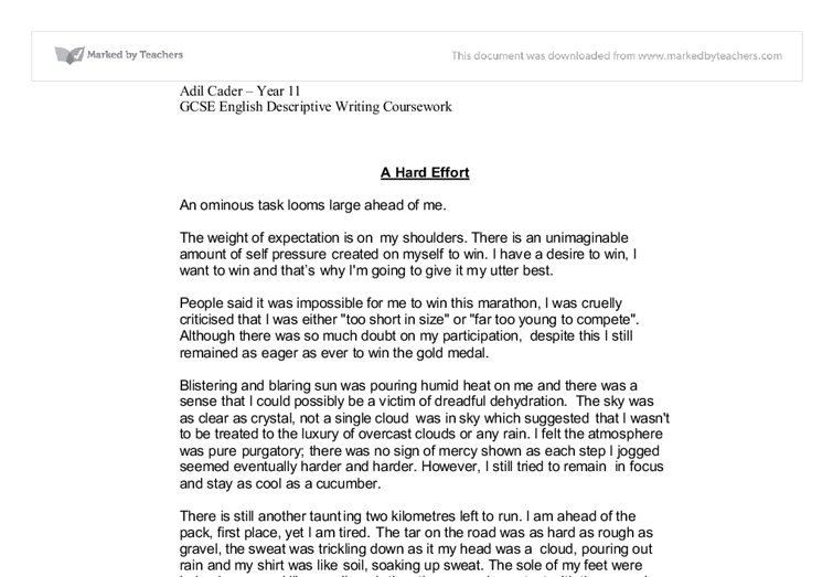 marathon run speaking and listening descriptive writing gcse  document image preview