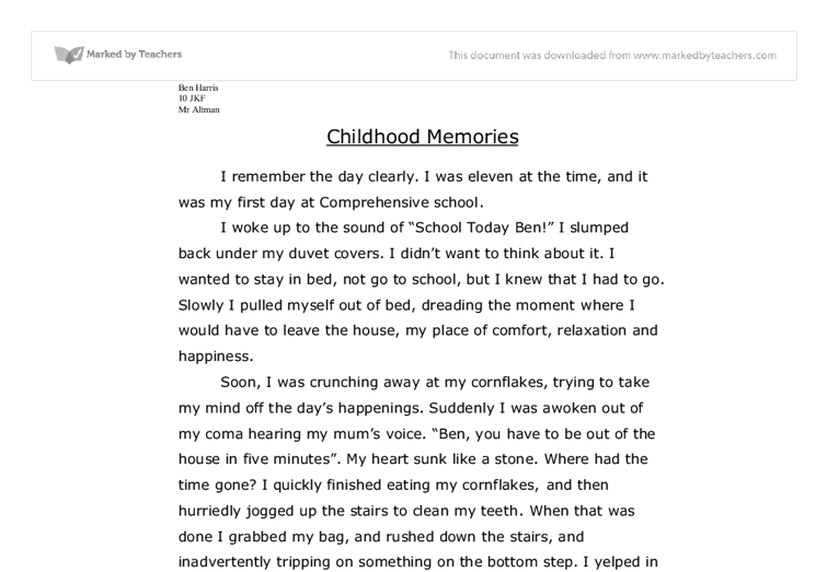childhood memory essay outline Read childhood memory free essay and over 88,000 other research documents childhood memory childhood memory have u ever had a flashback of a memory from when you were an infant.