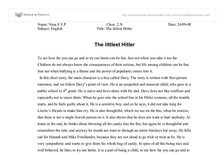 Essay about the littlest hitler
