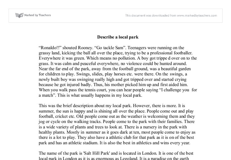 descriptive essay of a park