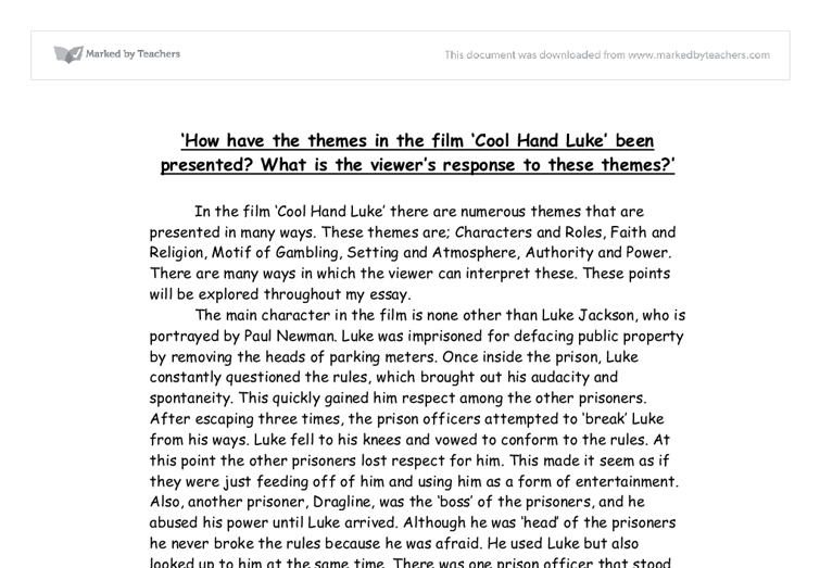cool hand luke analytical essay Free term paper on cool hand luke available totally free at planetpaperscom,  the largest free term paper community.