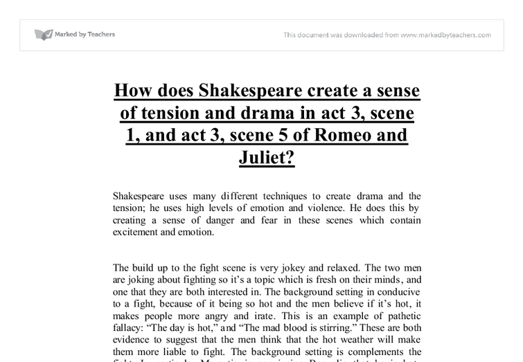 how does shakespeare create a sense of tension and drama in act  document image preview