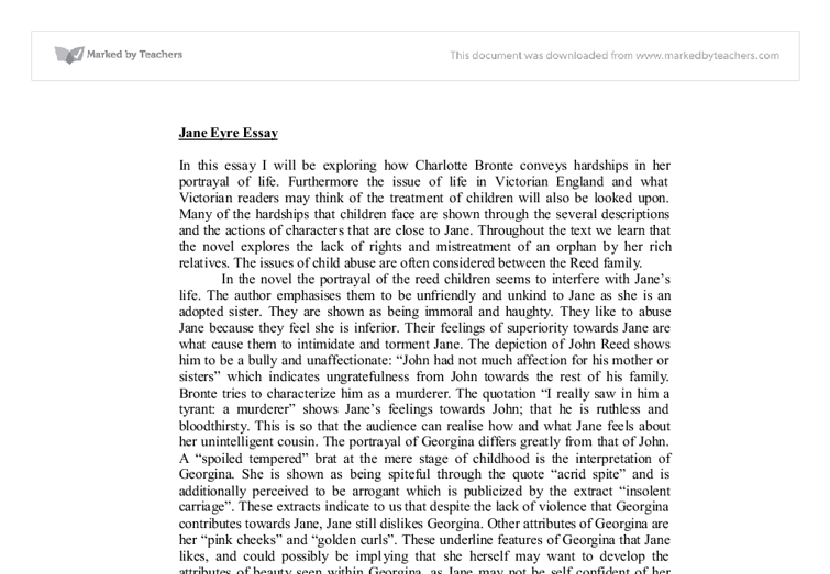 essay questions about jane eyre Jane eyre provides us with a narration of events and dialogue, as well as an account of her thoughts and feelings the novel can be classified as a bildungsroman, as it charts the growth of jane from a child into a young woman.