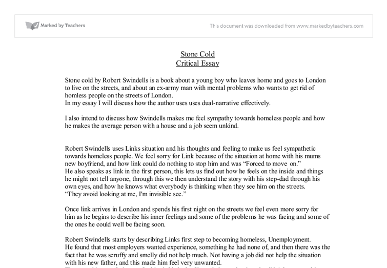 stone cold critical essay gcse english marked by teachers com document image preview