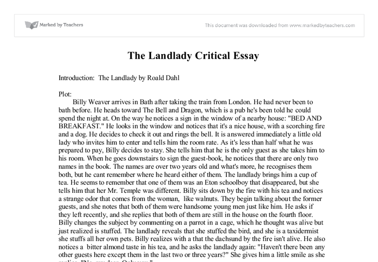 the landlady gcse english marked by teachers com document image preview