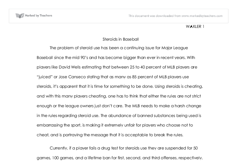 Baseball essay in steroid