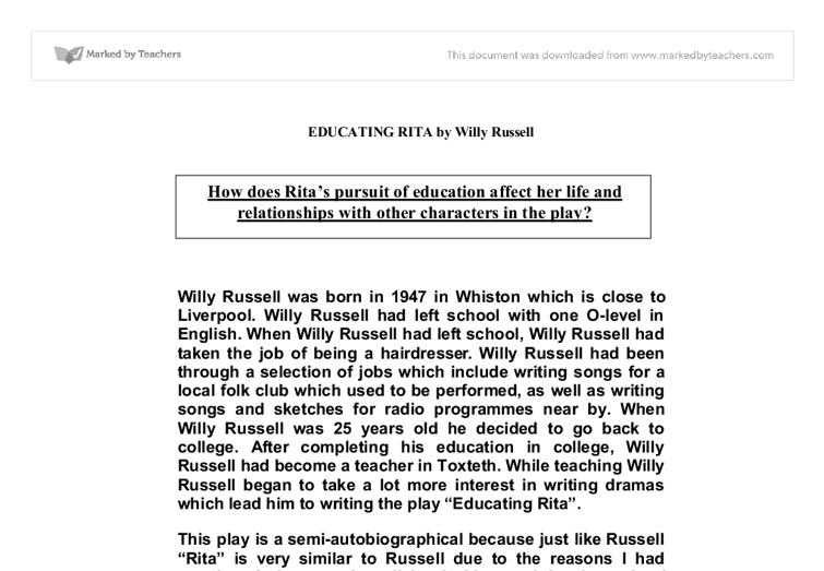 gcse educating rita essays Browse and read educating rita essay gcse educating rita essay gcse one day, you will discover a new adventure and knowledge by spending more money.