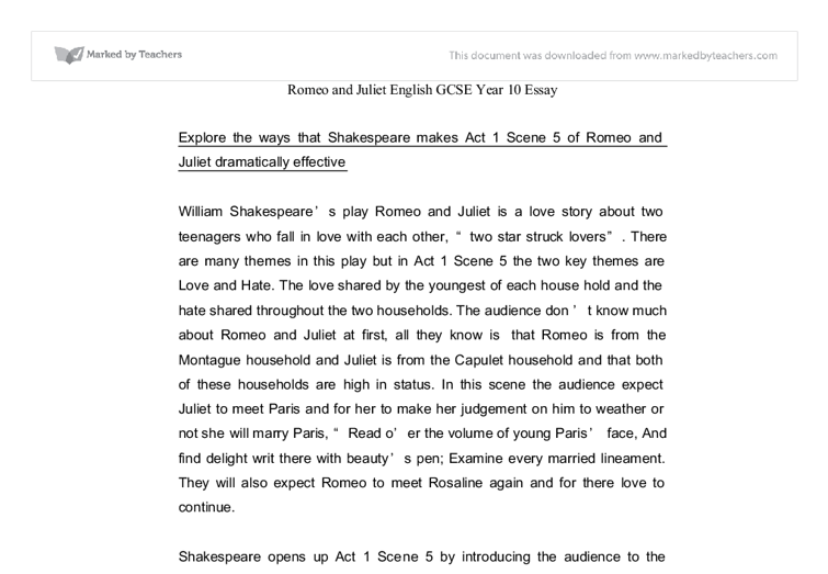 act scene romeo and juliet essay gcse english marked by document image preview