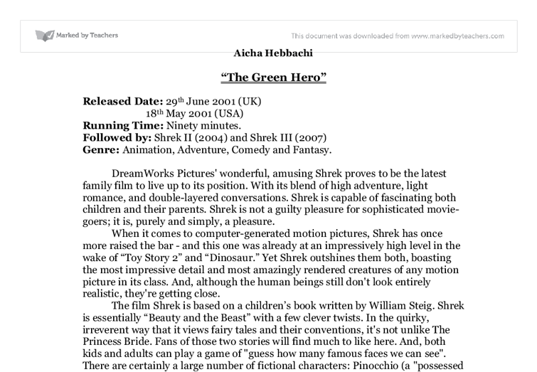 shrek film review essay