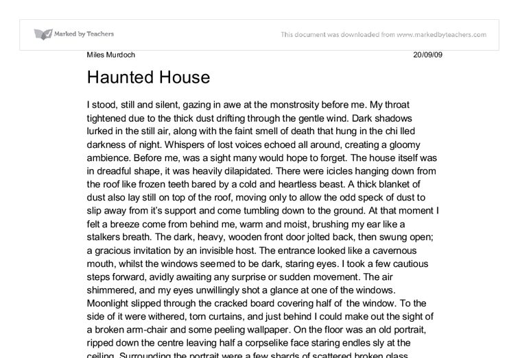 hunted house essay The case of gansz v alton haunted house originated when a girl tripped while running from an individual with a loud motor driven chainsaw at a haunted house in alton, illinois on october 29, 2011 (faces of lawsuit abuse, 2013.