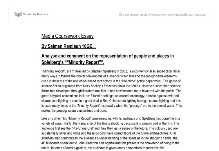 minority report essay gcse english marked by teachers com document image preview