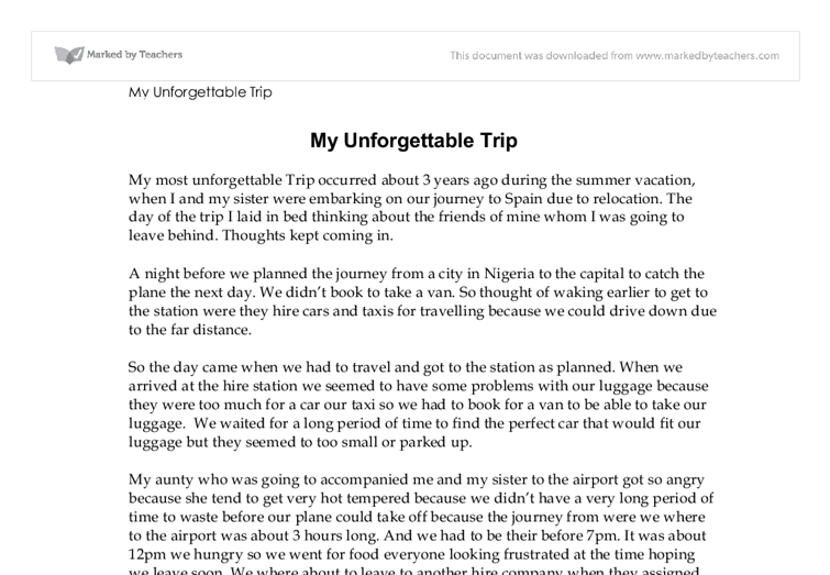 The most unforgettable experience in my life essay