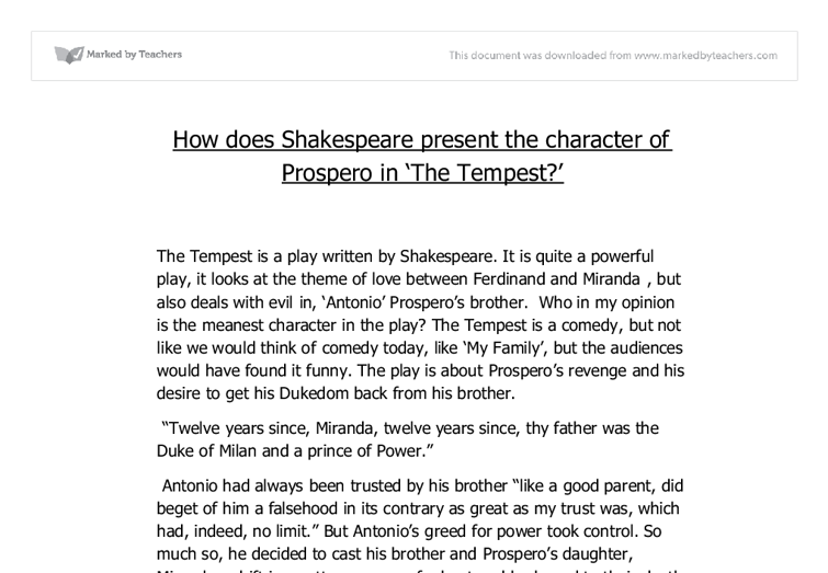 Prospero the tempest essay ideas