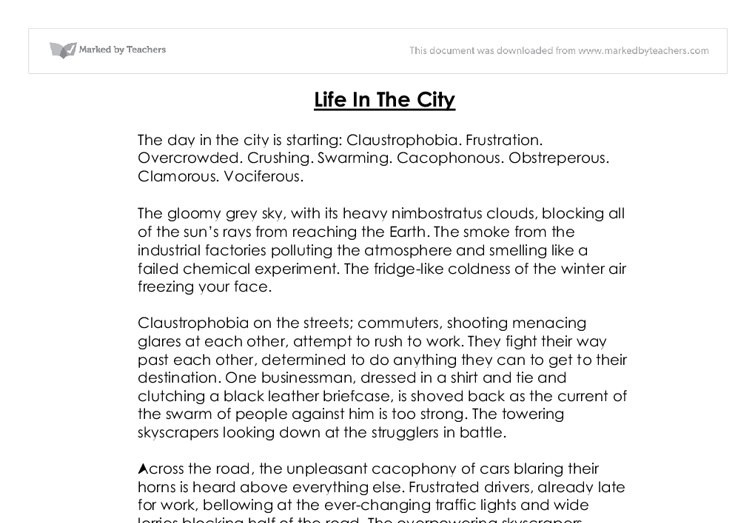 creative writing life in the city gcse english marked by  document image preview