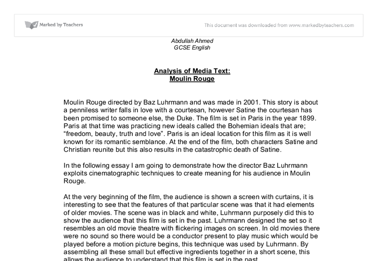 moulin rouge essay Free essay examples, how to write essay on analyzing moulin rouge film art one example essay, research paper, custom writing write my essay on film art rouge.