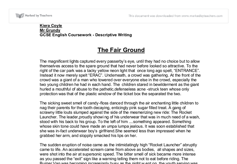 the fair ground gcse english marked by teachers com document image preview