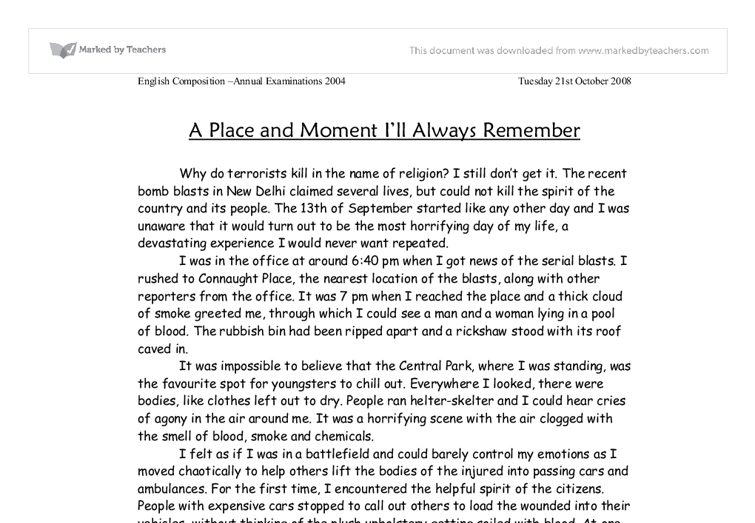 An experience of a lifetime essay