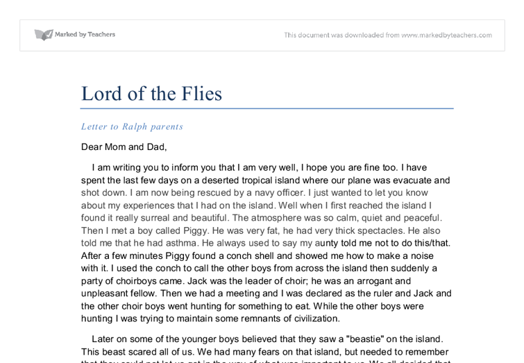thesis statement on ralph lord of the flies