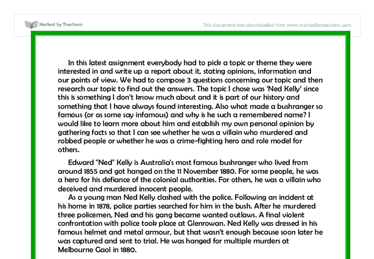 ned kelly hero or villain essay ned kelly hero or villain essay  ned kelly hero or villain essay dnnd my ip mened kelly essay gcse english marked by