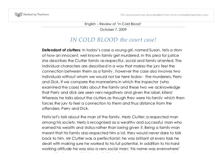 in cold blood character analysis essay Analysis of in cold blood the narrations help the reader to better understand the characters evidence letter from perry's sister and analysis from willie jay.