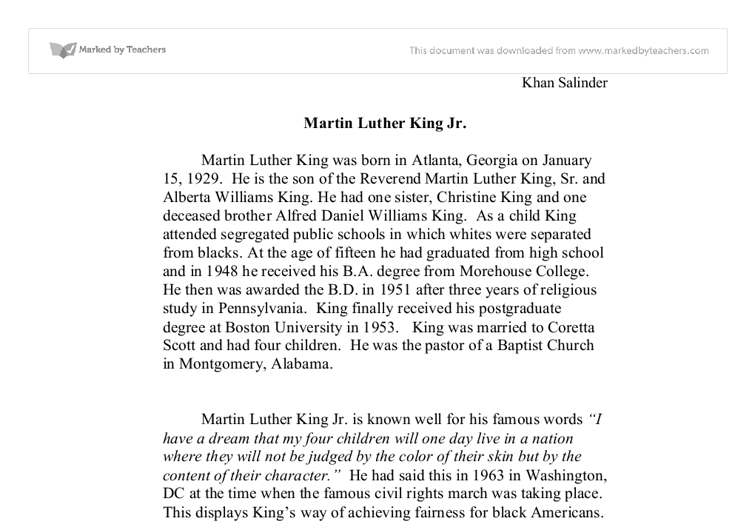 Gcse martin luther king essay