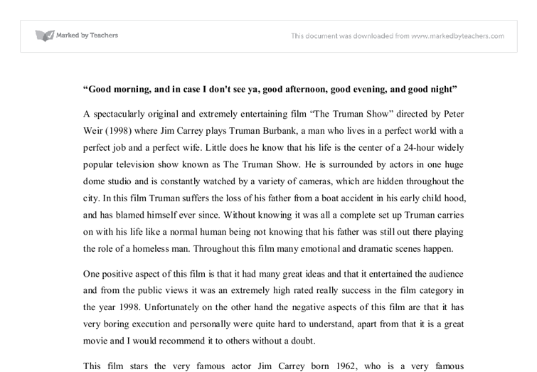 truman show essay review a spectacularly original and extremely document image preview