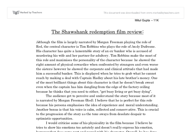 the shawshank redemption film review gcse english marked by document image preview
