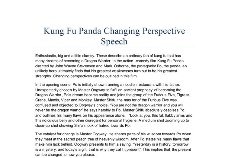 Changing perspective essay