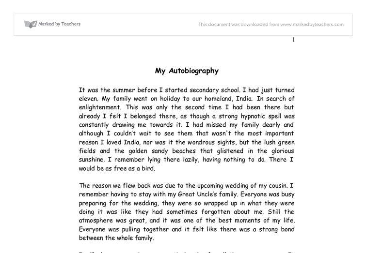 Sample Autobiography Essay