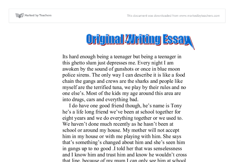 original writing essay being a teenager gcse english marked  document image preview