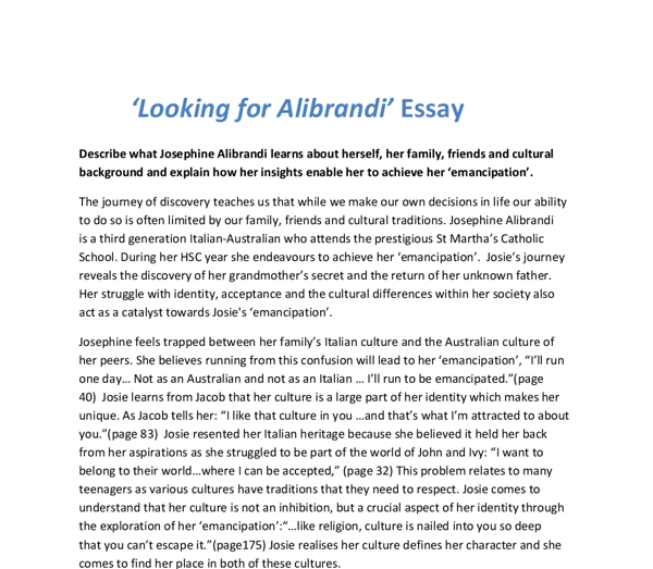looking for alibrandi characters essay Looking for alibrandi (2000) cast and crew credits, including actors, actresses, directors, writers and more.