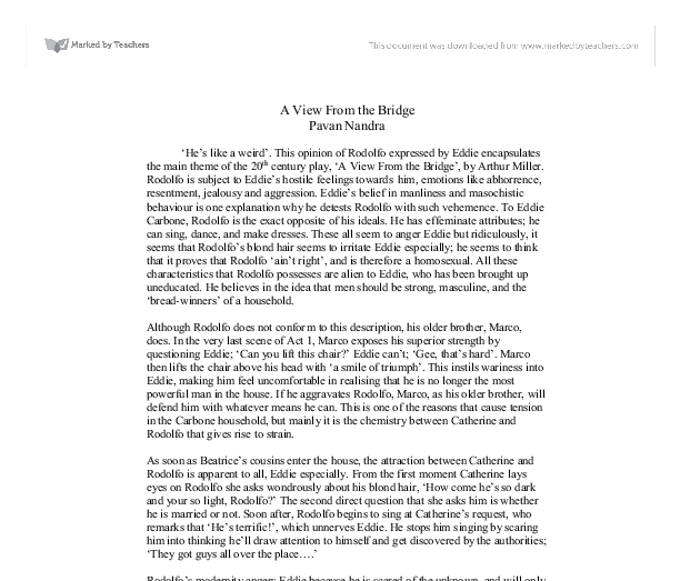 a view from the bridge conclusion essays A view from the bridge essays: over 180,000 a view from the bridge essays, a view from the bridge term papers, a view from the bridge research paper, book reports.